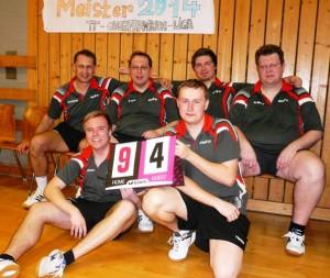 Unser Bild zeigt die 1. Mannschaft mit (hinten von links): Michael Gehring, Christoph Teille, Andreas Eichner und Michael Bittruf. Vorne von links Andre Rauscher und Dimytro Nazaryschyn.