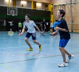Badminton Herrendoppel U17 mit Fritz Kropf und Sidney Fischer
